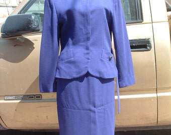 free shipping CHRISTIAN DIOR purple suit size us 8  circa 1980's