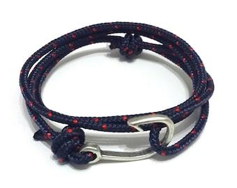 Fish Hook Bracelet in Navy - Rope Bracelet, Nautical Bracelet, Fish Hook Bracelet, Anchor Bracelet, Men's Bracelet, Women's Bracelet