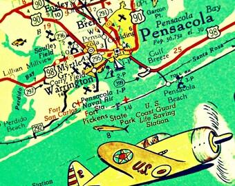 map art print PENSACOLA BEACH 12x12 20x20 retro Florida panhandle map, Childrens art,  beach house decor Pensacola gift airplane art
