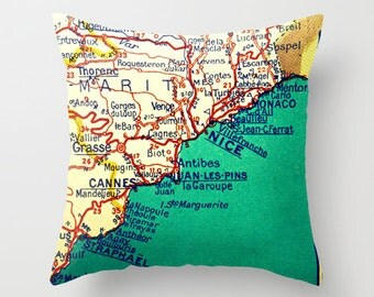 Cannes France Map Pillow Cover, France Pillow Gifts for Travelers, Travel Gift, Nice, Monaco, French Riviera, Bordeaux, Cannes Film Festival