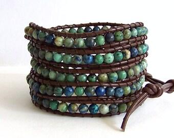 Turquoise Wrap Bracelet - African Turquoise Stones, Brown Leather - Boho Bracelet