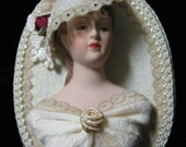 VINTAGE VICTORIAN ORNAMENT Framed Doll