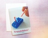 NEW BABY CARD — Game of Life Pink Peg, New Baby Girl, New Parents Congratulations Card