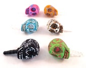 Day of the Dead -Hand Painted Calavera Skull iPhone Headphone Plug/ Dust Plug - 6 Colors to Pick- Cellphone Accessories