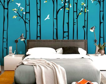 """Baby Nursery Wall Decals - Birch Trees Decal - Tree Wall Decal - Tree Wall Decals - Tree Wall Decal - Large: approx 91"""" x 130"""" - KC041"""