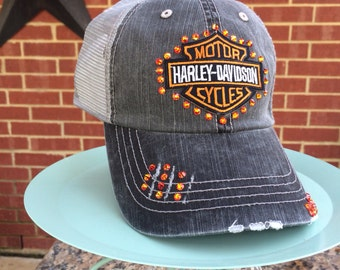 Motorcycle  Distressed Baseball Style Hat EXTRA Bling