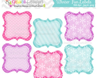 INSTANT DOWNLOAD, winter fun patterned labels, printable label, digital frames, for personal use, commercial use, scrapbooking, party suppl
