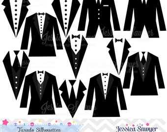 INSTANT DOWNLOAD, tuxedo silhouettes clipart, silhouette clipart,  for greeting cards, announcements, scrapbooking