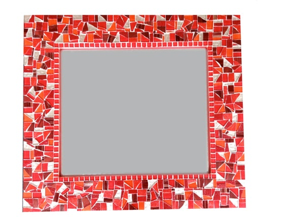Red and Gold Mosaic Wall Mirror