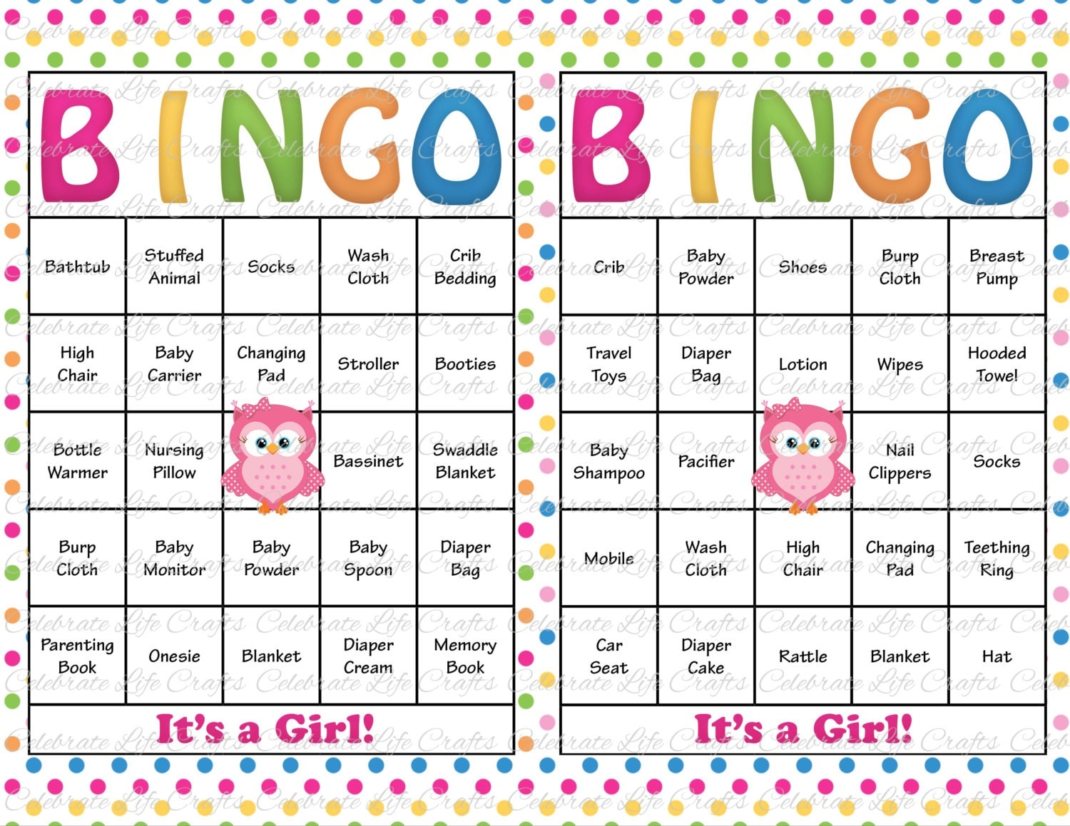 Items similar to 100 Baby Shower Bingo Cards - Printable Party Baby ...