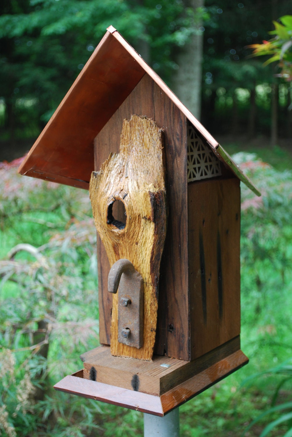 Free Shipping Rustic Reclaimed Redwood Bird House With Copper
