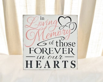 Wedding Sign, In loving memory of those forever in our hearts, memorial table, if heaven wasn't so far away, in memory of,