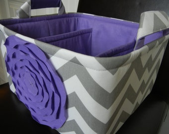 "LG Diaper Caddy(choose ROSE&LINING color)12""x10""x6""Two Dividers-Baby Gift-Fabric Storage Organizer-Chevron-""Lavender  Rose on Grey Zigzag"""