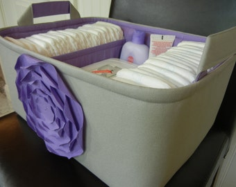 """Ex Large Diaper Caddy-14""""x 10""""x 7""""(CHOOSE COLOR)Two Dividers-Baby Gift-Fabric Storage Organizer-""""Lavender Rose on Grey"""""""