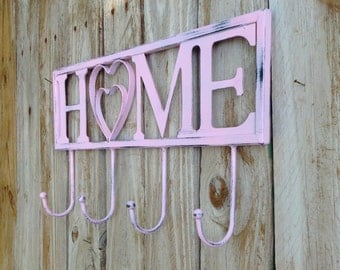 Shabby Chic HOME Wall Hooks / Sign with Hooks / Indoor or Outdoor