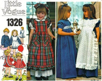 Girl's Children's Empire Waist Dress or Maxi Dress and Ruffled Pinafore or Apron Vintage Little Vogue 1326 Size 6