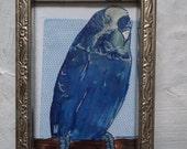 Blue Blue Budgie Bird Original Collage