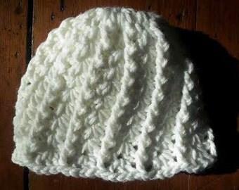 Hat Crochet White 6-12 month