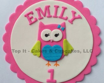 Fondant Cake Topper - Look Whoo's Turning - Owl