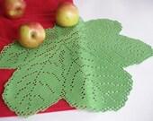 SALE 35% OFF: Crochet doily leaf Green crochet leaf Lace leaf Large crochet doily Table decorations Crocheted doilies