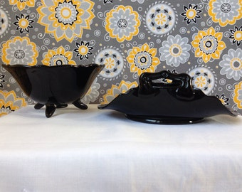 L.E. Smith - Mount  Pleasant -  Footed Candy Dish - Bob Bon Dish - Rolled Handles - 1020's -1930's - Depression Glass