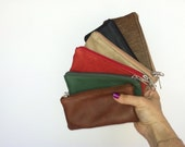 Small leather pouch / Mini cosmetic bag / multicolor leather or coin bag handmade maria
