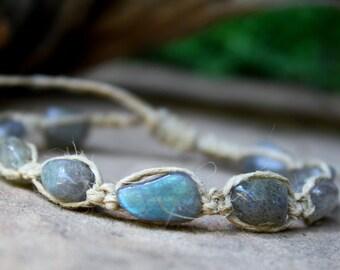 Labradorite Hemp Bracelet, Macrame Bracelet, Hemp Macrame, Hemp Jewelry, Labradorite Jewelry, Labradorite Macrame, Gifts under 20