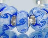 Blue and White Swirl Pattern Glass Lampwork Charm Bracelet Bead -.925 Silver Core