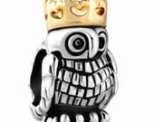 Wise Owl Spacer Bead for  European Style Charm Bracelet - Silver Plated
