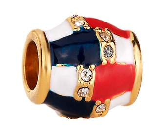 Red White and Blue Enamel Spacer Bead with Clear Crystals For European Style Charm Bracelet