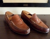 Vintage Allen Edmonds COPPELL Brown Leather Weejun-Style Loafers 9 EEE.  Made in USA.