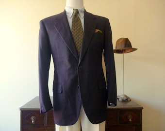Beautiful Vintage OXXFORD CLOTHES Micro Pin Dot Stripe Navy Blue Trad / Ivy League Jacket 40 Reg.  Made in USA.