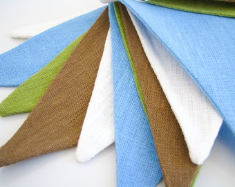 Bunting / Fabric Flag Banner / Pennant Nursery / Porch / Patio Decor / Photo Prop / Blue / Champagne White / Brown / Green