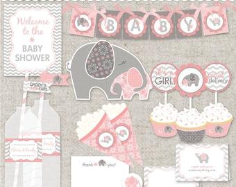 DIY Elephant Baby Shower Printable PDF Party