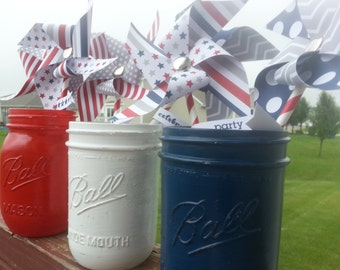 Red White and Blue Handpainted Mason Jars with Pinwheels, Patriotic Mason Jars,  4th of July Decorations LABOR DAY, Welcome Home Military
