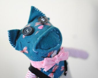 Unique Sock Animal Cat with Overalls & Bow Tie, Hand-Stitched, Made with all Reclaimed Clothing, Sustainable Gift, Plush Toy, Hipster, OOAK