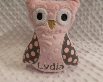 Pink and Gray Polkadot Owl