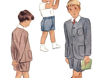 1940s Little Boy's Suit Pattern McCall 6705, Toddler Boy's Single Breasted Jacket & Shorts, 1946 Vintage Sewing Pattern Size 2 Chest 21