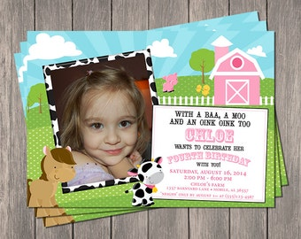 "Down On The Farm Printable Invitation | Printable 5"" x 7"" 