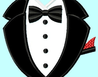 Tuxedo Black Applique Embroidery Design    INSTANT DOWNLOAD