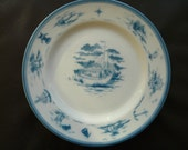 Syracuse China, Nautical, restaurant ware, vintage, plates, diner, blue, airbrush, stencil set of two