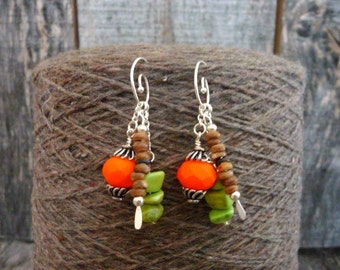 Mix and Match Earrings, Convertible Jewelry, Versatile Accessory, Green Brown and Orange