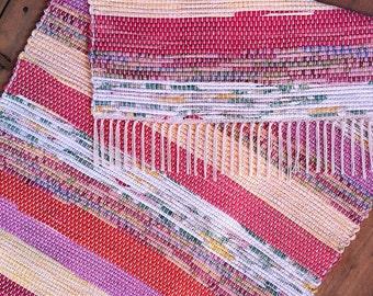 2x4 Rag Rug / Pinks, Yellow, Pink-Green, Pink-Orange, Floral