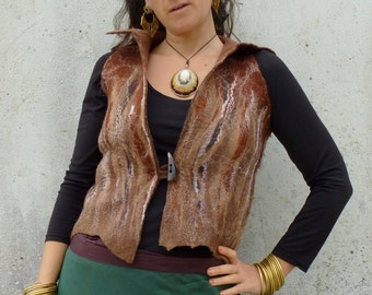 OOAK ~ Elfn ~ Woodland ~ Godess ~ Felt ~ Vest ~ Waistcoat ~ Brown ~ Hand made