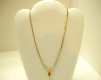 Vintage Gold Tone Double Red Beaded Choker Necklace (4513)