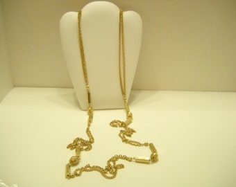 "Vintage 52"" Gold Tone Chain Necklace (8727)"