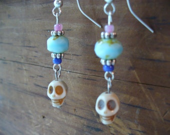 Skull and Turquoise Rondelle Beaded Earrings, Sterling Silver Jewelry, Womens Jewelry, Day of the Dead, Howlite Skull