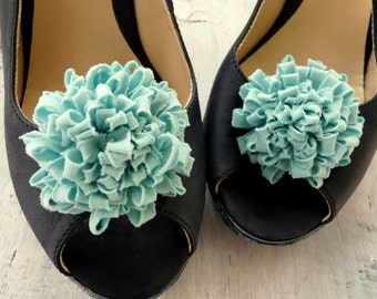 Wedding Shoe Clips, Mint Green Shoe Clips, Shoe Embellishment, Mint Green Clips, Bridesmaid Present, Wedding Shoes Flowers