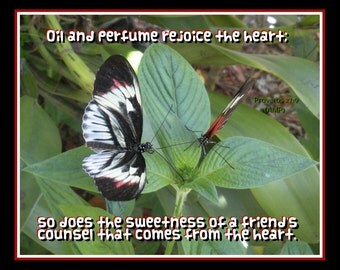 Butterfly Friends Scripture Art 8x10 photo - Proverbs 27:9 (AMP) made to order