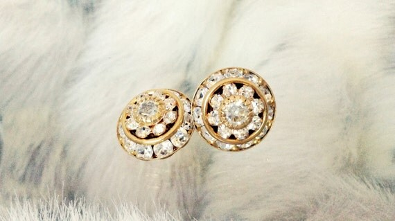 Gold Earrings 22k fused Swarovski Crystal Clear Rhinestone 16K Gold plated Silver Post Round Minimalist Stud Ladies Fashion Jewelry